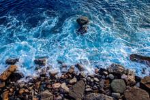 Top View Blue Ocean Water, Wav...