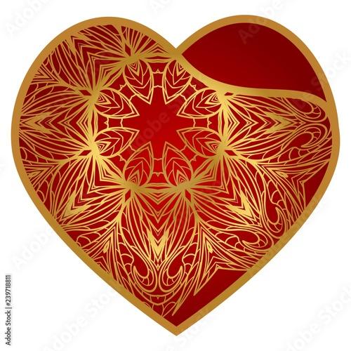 Fotografie, Obraz  Vintage Lace Heart With Flower