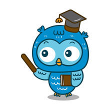 Cute Owl Cartoon Of Vector (Te...