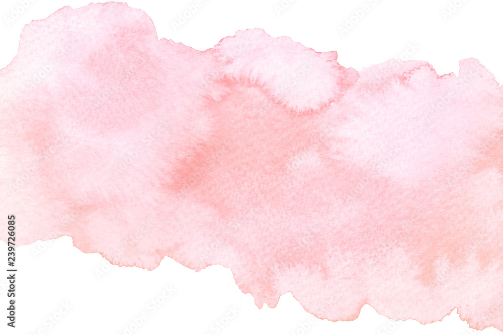Fototapeta Watercolor artistic abstract pink brush stroke isolated on white background