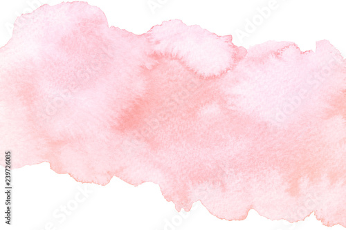 Photo sur Aluminium Forme Watercolor artistic abstract pink brush stroke isolated on white background
