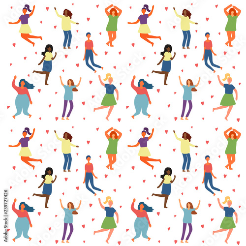 Seamless Background With Multiracial Women Of Different Figure Type And Size Dressed In Comfort Wear Female Cartoon Characters Pattern Body Positive Movement And Beauty Diversity Vector Buy This Stock Vector And