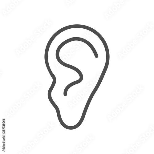 Valokuva  Human ear icon. Vector illustration, flat design.