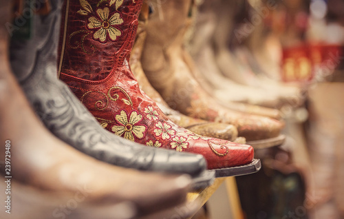 Cowboy boots in a store, vintage style shoes Canvas Print