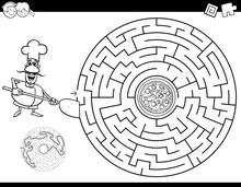 Maze Color Book With Chef And Pizza