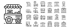 Kiosk Icon Set. Outline Set Of...