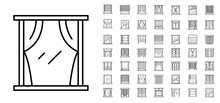 Blind Window Icon Set. Outline Set Of Blind Window Vector Icons For Web Design Isolated On White Background