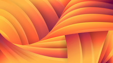 Abstract Orange Geometric Background. Vector Futuristic Three-dimensional Image. The Effect Of Macro. Swirl Flow Of Yellow And Orange Lines. Soft Gradients And Pastel Colors.