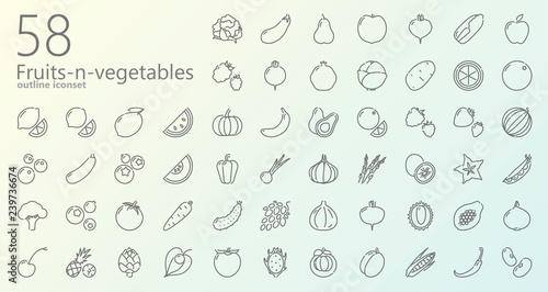 Cadres-photo bureau Cuisine Fruits-n-vegetables outline-cut iconset