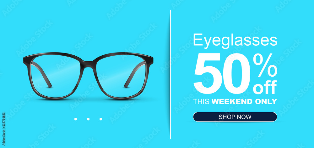 Fototapety, obrazy: Eyeglasses Sale Banner Concept.