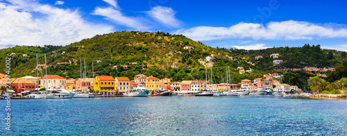 Beautiful Ionian island Paxos, view of Lakka village and bay. Greece