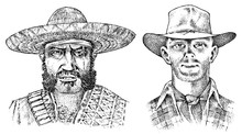 Cowboy Face Close Up. Sheriff And Mexican Man In Sombrero Hat. Western Rodeo Icon, Texas Ranger, Wild West, Country Style. Vintage Engraved Hand Drawn Sketch.