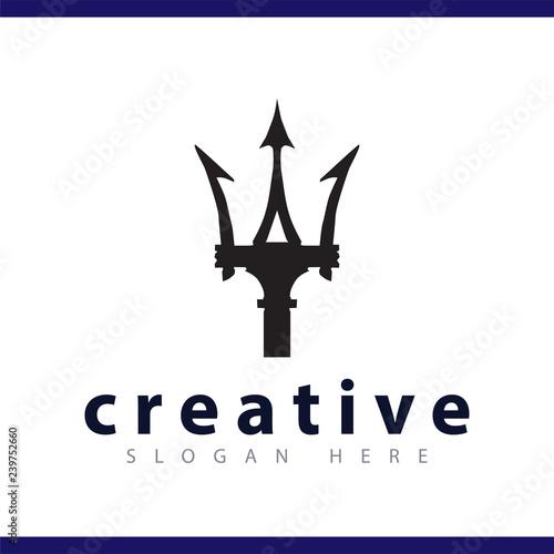 Obraz na płótnie trident spear logo vector template