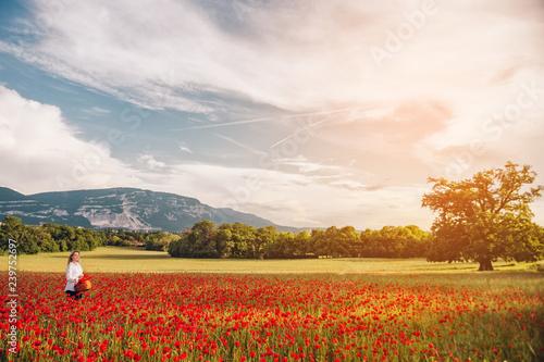 Fototapeta Young blond woman enjoying amazing view of poppy field, Saleve mountain, image taken in Geneva, Switzerland obraz na płótnie