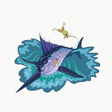 Fisherman Caught Too Big And Strong For Himself Marlin, Vector Illustration