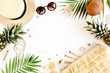 Female, summer street style. Women's frame of accessories. Straw hat, bag, sunglasses and pineapple. Top view, flat lay.