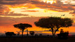 canvas print picture African Wildlife Safari Drive at Sunset