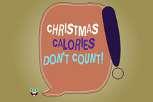 Writing Note Showing Christmas Calories Don T Count. Business Photo Showcasing Eat Whatever You Want In Holiday Seasons Blank Color Speech Bubble Outlined With Exclamation Point