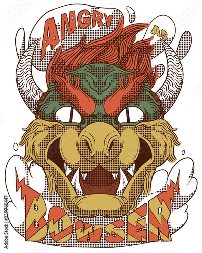 Fototapeta  Bowser head, Angry as Bowser