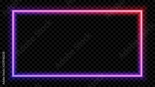 Photo Square Purple and red neon light on a transparent background