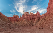 Colorful Red Clay Canyons And Cactus In The Arid Tatacoa Desert, A Renowned Touristic Destination In Huila, Colombia.