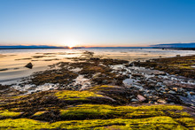 Sunset In Rimouski, Quebec, Saint Lawrence River In Gaspesie, Canada With Rocks, Boulders, Rocky Beach, Shallow Turquoise Water, Sun Reflection Above Horizon, Sunburst, Glade, Path, Seaweed Blue Sky
