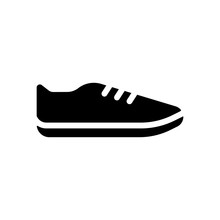 Shoe Or Sneaker, Icon Of Sport. Black Icon On White Background