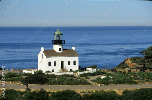 Fotografie, Obraz  0ld lighthouse on point loma rom helicopter