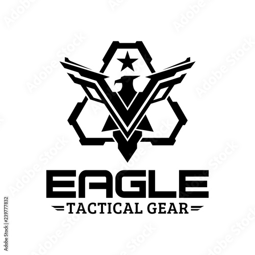 Fotografie, Tablou Eagle tactical triangle gear vector logo design illustration template