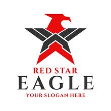 Red Eagle Star Logo Design Illustration Template