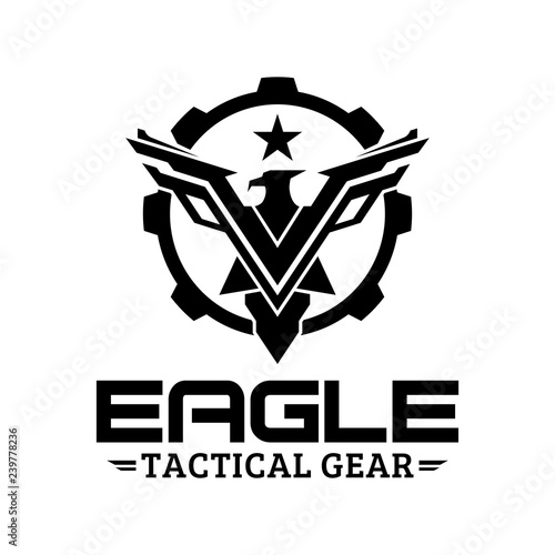 Fotografija  Eagle tactical gear vector logo design illustration template