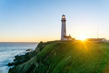 Sunset At Historic Lighthouse - Pigeon Point Lighthouse - California, USA