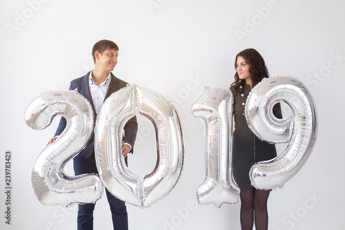 New Year Celebration And Holidays Concept Funny Love Couple