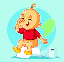 Funny Baby Sitting On The Potty Vector Cartoon
