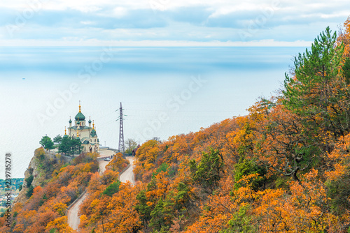 Poster Hill View of the Church of the Resurrection of Christ, Foros church on the rock in the Crimea, Russia