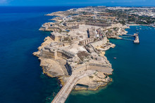 Fort Ricasoli Aerial View. Island Of Malta From Above. Bastioned Fort Built By The Order Of Saint John In Kalkara, Malta. Gallows' Point, North Shore Of Rinella Bay, Entrance To The Grand Harbour.