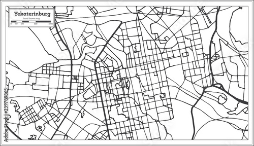 Yekaterinburg Russia City Map in Retro Style. Outline Map. Tablou Canvas