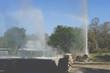 geyser eruption. exploding hot spring geothermal water