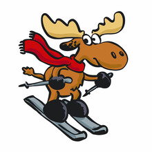 Moose Riding Ski Cartoon