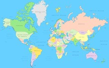 Political World Map   Vector Detail Atlas In Mercator Projection
