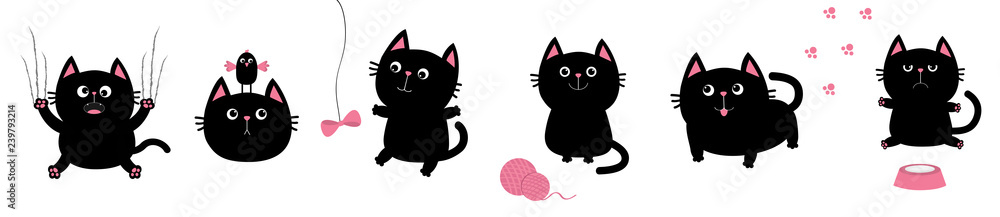 Fototapeta Black fat cat set. Bird, butterfly, bow, pawprint, clew ball paw print. Nail claw scratch, sitting, smiling. White background. Isolated. Flat design.