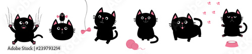 Obraz Black fat cat set. Bird, butterfly, bow, pawprint, clew ball paw print. Nail claw scratch, sitting, smiling. White background. Isolated. Flat design. - fototapety do salonu