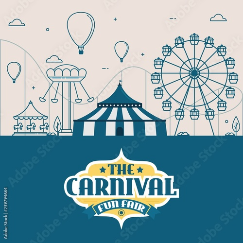 Fotografija vector illustrations of carnival circus with   tent, carousels, ticket fun fair