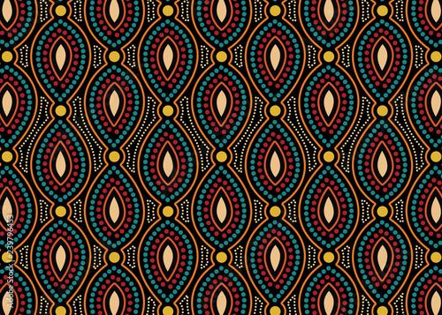 Aboriginal dot art  vector seamless pattern background. Canvas Print
