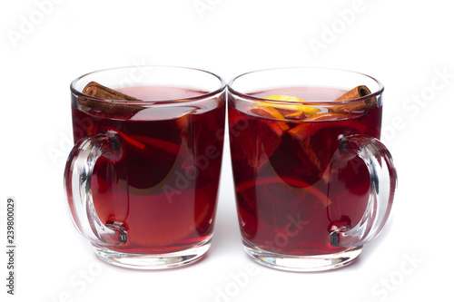 Fotomural mulled wine with spices isolated on white background