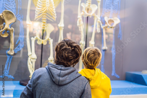 Dad and son are watching the skeletons of ancient and modern people Canvas Print