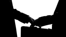 Businessman Giving Suitcase To Partner, Underground Economy, Illegal Deal, Bribe