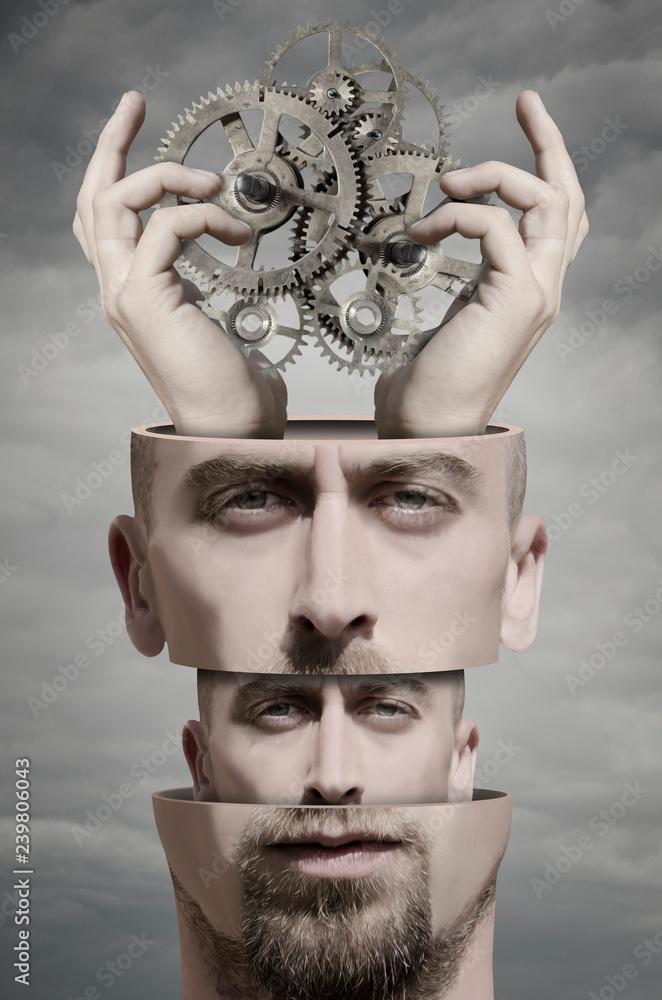 Surreal portrait of man - obrazy, fototapety, plakaty