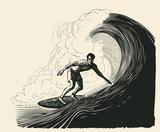 surfer i duża fala. styl grawerowania. ilustracji wektorowych. - 239807098