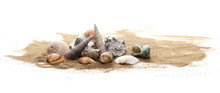 Seashells In Sand Pile Isolated On White Background